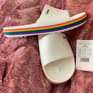 Crocs Slides Rainbow & White